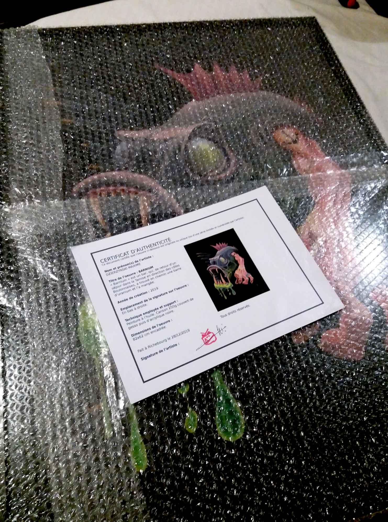 Peinture prête à être emballée pour le grand voyage accompagnée de son certificat d'authenticité.