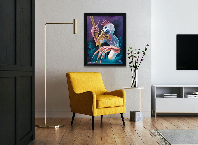 Pièce à vivre élégante, déco tableau fantastique décalé, violet 450€.