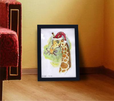 Girafe noël aquarelle 20€.
