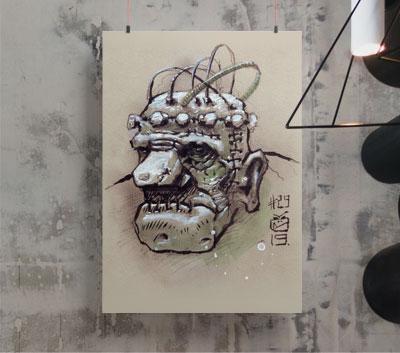 Bizaros Alkystein dessin Inktober 40€.